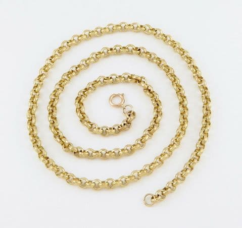 Vintage Solid 9Ct Gold Embossed Belcher Link Chain / Necklace 28 Inches